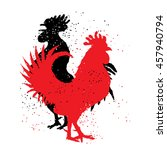 Red And Black Roosters. Two...