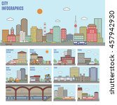 city infographics. transport... | Shutterstock .eps vector #457942930