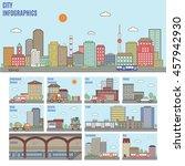 city infographics. transport... | Shutterstock .eps vector #457942930