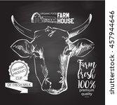 cows head. hand drawn. chalk... | Shutterstock . vector #457944646