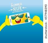 summer selfie vector concept... | Shutterstock .eps vector #457948390