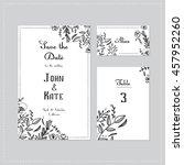 wedding set with floral design  ... | Shutterstock .eps vector #457952260