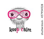 funny ostrich pink sunglasses.... | Shutterstock .eps vector #457954528