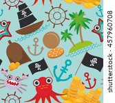 marine seamless pirate pattern... | Shutterstock .eps vector #457960708