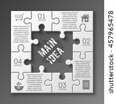 four piece puzzle business... | Shutterstock .eps vector #457965478