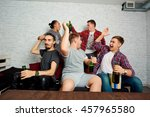 friends watching tv together... | Shutterstock . vector #457965580