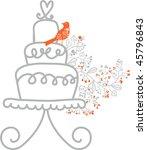 sweet floral wedding cake | Shutterstock .eps vector #45796843