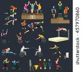 people on wheelchair disabled... | Shutterstock .eps vector #457970860