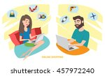 happy woman and happy man doing ... | Shutterstock .eps vector #457972240