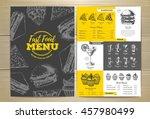 vintage fast food menu design.... | Shutterstock .eps vector #457980499