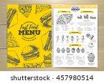vintage fast food menu design.... | Shutterstock .eps vector #457980514