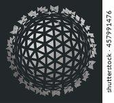 exploding sphere shape with...   Shutterstock .eps vector #457991476