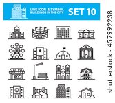 buildings city line icon vector ... | Shutterstock .eps vector #457992238
