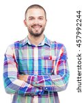 casual man smiling  isolated on ... | Shutterstock . vector #457992244