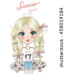 hand drawn beautiful  cute... | Shutterstock .eps vector #458019184