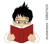 reading boy | Shutterstock .eps vector #458027614