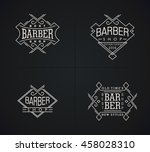 Set Of Vector Emblems Barber...