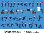 set of happy office man.... | Shutterstock . vector #458032663