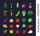 vegetable icon set in flat style | Shutterstock .eps vector #458034940
