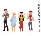 set of sick people cartoon... | Shutterstock .eps vector #458036050