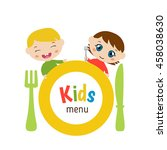 kids menu card with plate and... | Shutterstock .eps vector #458038630