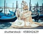 beautiful venetian masked model ... | Shutterstock . vector #458042629
