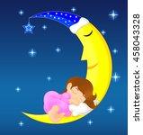 cute little girl sleeping on...   Shutterstock .eps vector #458043328
