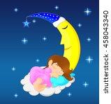 cute little girl sleeping on...   Shutterstock .eps vector #458043340