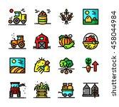thin line harvest icons set ... | Shutterstock .eps vector #458044984