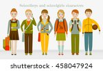 school kids group. boys and... | Shutterstock .eps vector #458047924