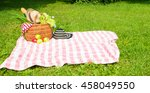 picnic basket full of food and... | Shutterstock . vector #458049550