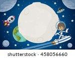 astronaut cartoon boy flying in ... | Shutterstock .eps vector #458056660