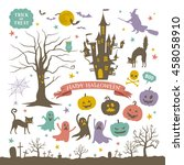 halloween icons | Shutterstock .eps vector #458058910
