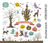 halloween icons | Shutterstock .eps vector #458058910