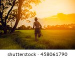 boy ran to the pasture on a... | Shutterstock . vector #458061790