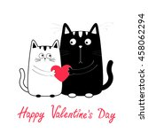 happy valentines day. cute... | Shutterstock .eps vector #458062294