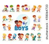 big icon set of cute cartoon... | Shutterstock .eps vector #458064733