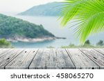 old wood table top on blurred... | Shutterstock . vector #458065270