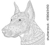 coloring page of doberman... | Shutterstock .eps vector #458065450