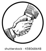helping hand engraving | Shutterstock . vector #458068648
