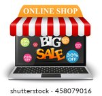 sale and on line shop concept... | Shutterstock .eps vector #458079016