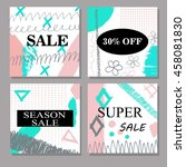 set of creative hand drawn sale ... | Shutterstock .eps vector #458081830