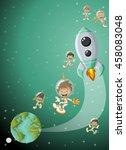 astronaut cartoon children... | Shutterstock .eps vector #458083048