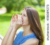 screaming brunette woman ...   Shutterstock . vector #458089273