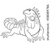 Coloring Pages. Cute Iguana...