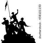 Vector Silhouette Of A Platoon...