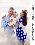 happy young couple with baby...   Shutterstock . vector #458106064