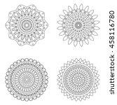 set of floral mandalas  vector... | Shutterstock .eps vector #458116780