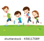 cute family runing together.dad ... | Shutterstock .eps vector #458117089
