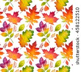 autumn leaves seamless pattern. ... | Shutterstock . vector #458122510